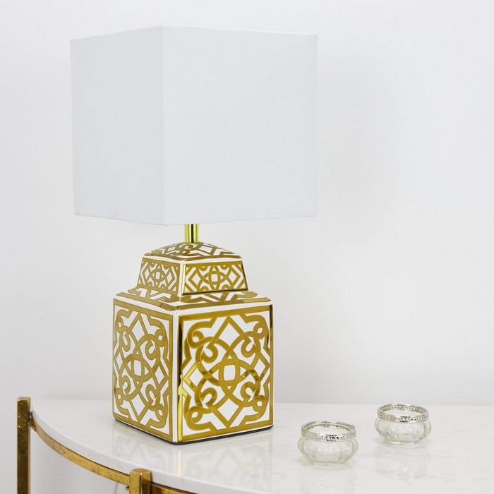 Zunea Table Lamp White & Gold C/W Shade