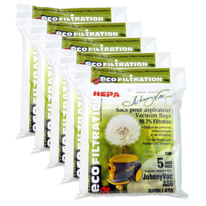 5 PAQUETS DE 5 SACS MICROFILTRE HEPA ASPIRATEUR COMMERCIAL AS6 - JOHNNY VAC