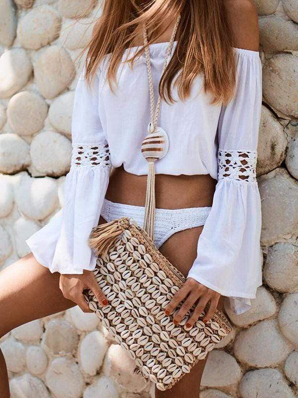 Cold Shoulder Crochet  Bell Sleeve Crop Top