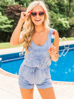 Solid Pocket Drawstring Romper