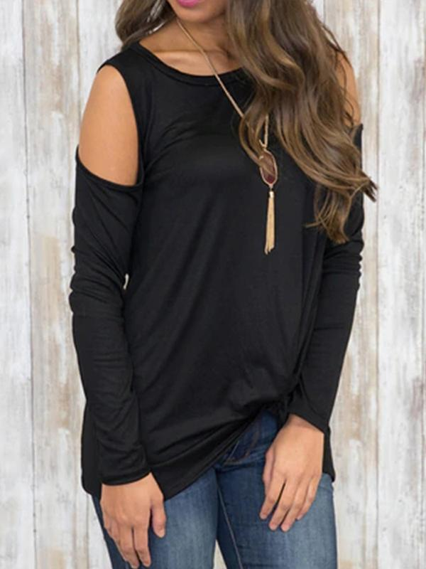 Solid Color Tie Long Sleeve T-shirt-T-shirts-prostylish-pl