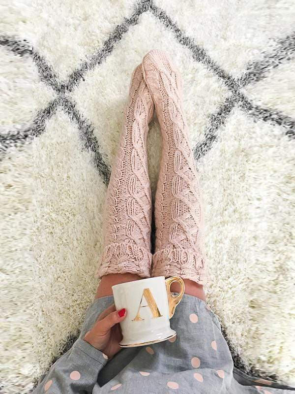 Solid Color Thigh-High Long Socks