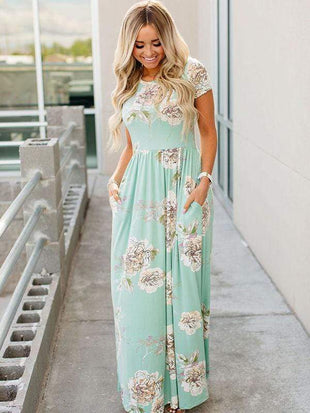 Floral Print Maxi Dress With Pocketed