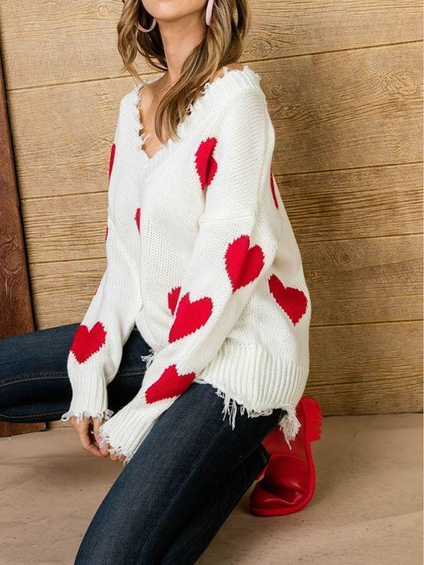 Queen of Heart Printed Love Sweaters