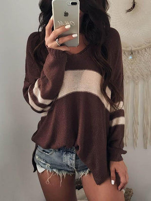 Striped V-Neck Long Sleeve Sweater