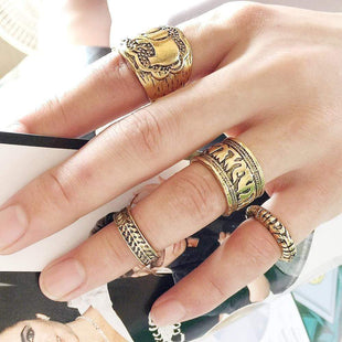 Vintage Knuckle Rings for Women Elephant Ring Set