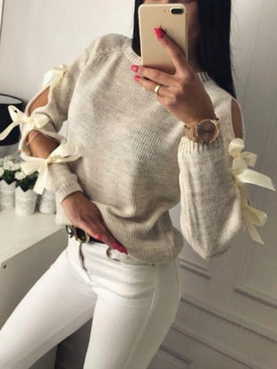 Cold Shoulder With Bows On The Sleeves Sweaters