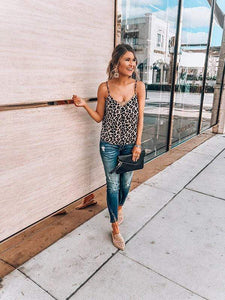 V-Neck Sling Leopard Tanks