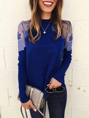 Solid lace Mesh Floral Knit T-shirt
