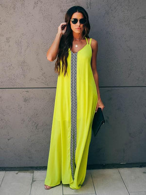 Linear Trim Embroidered Maxi Dress