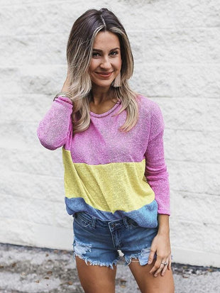 Colorblock Long Sleeve Knot Top