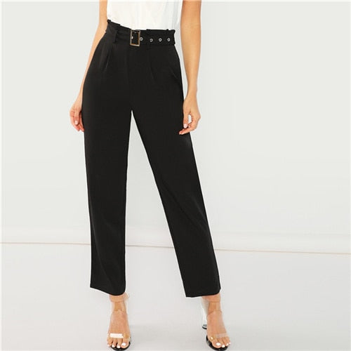Black Pleated Buckle Trousers