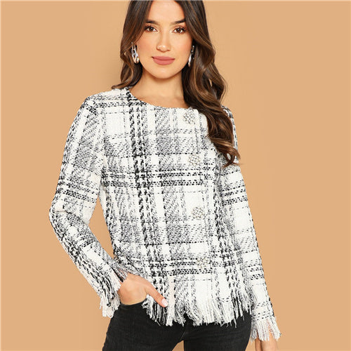 Black and White Tweed Coat - MTRXN