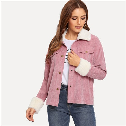 Pink Faux Fur Collar Jacket