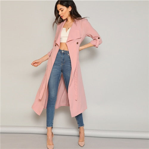 Pink Draped Collar Trench Coat