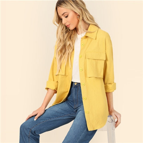 Yellow Dual Flap Pocket Jacket