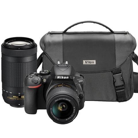 Nikon D5600 24.2MP Wi-Fi D-SLR Camera with Nikon 18-55mm, 70-300mm Lens and Camera Case