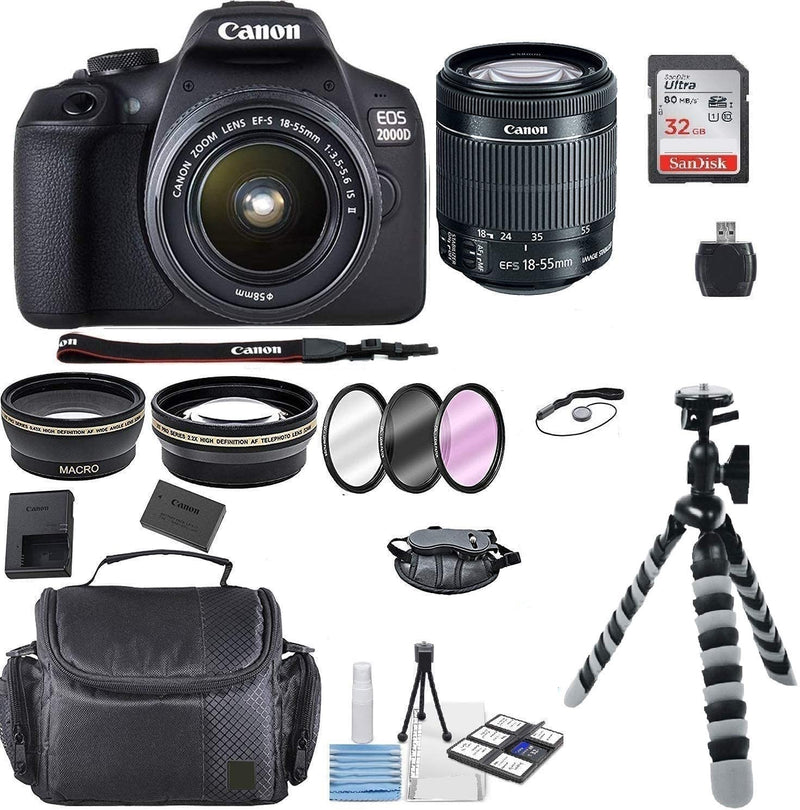 Canon EOS 2000D Rebel T7 Kit with EF-S 18-55mm f/3.5-5.6 III Lens + Accessory Bundle