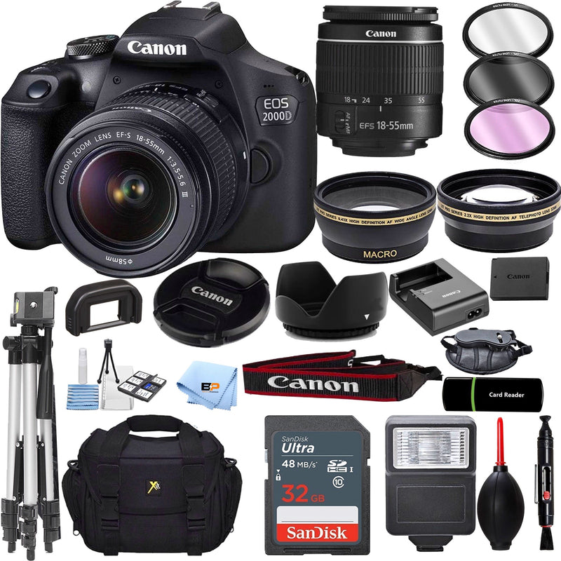 Canon EOS 2000D Rebel T7 Kit with EF-S 18-55mm f/3.5-5.6 III Lens + 32GB memory + Accessory Bundle
