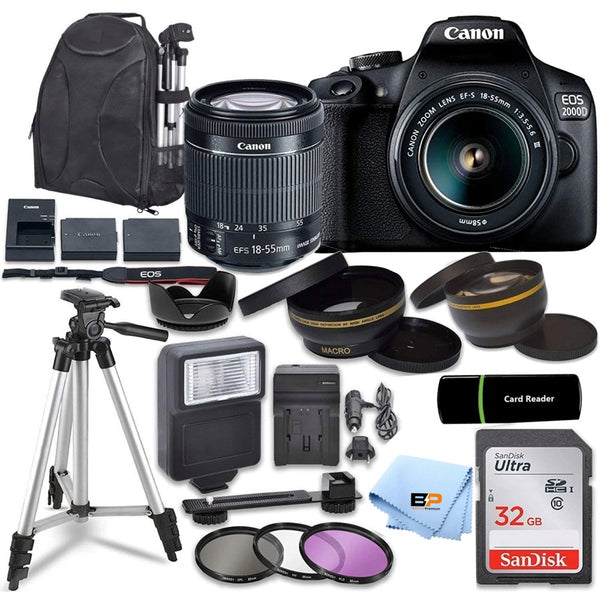 Canon EOS 2000D Rebel T7 Kit with EF-S 18-55mm f/3.5-5.6 III Lens + 32GB memory + Briefcase +Accessory Bundle