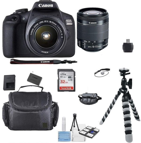Canon EOS 2000D / Rebel T7 24.1MP Digital SLR Camera + EF-S 18-55mm lens + Original Case + Top Bundle
