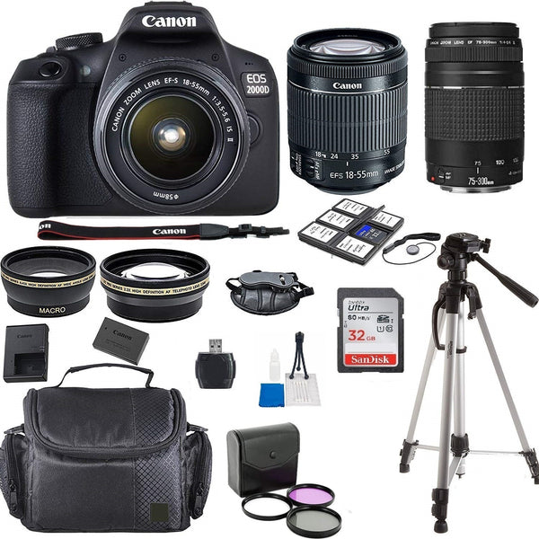 Canon EOS 2000D / Rebel T7 24.1MP Digital SLR Camera + 18-55mm Lens + 75-300 lens+ 32GB Accessory Bundle