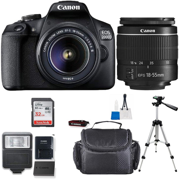 Canon EOS 2000D / Rebel T7 24.1MP Digital SLR Camera + 18-55mm Lens + 32GB Accessory Bundle