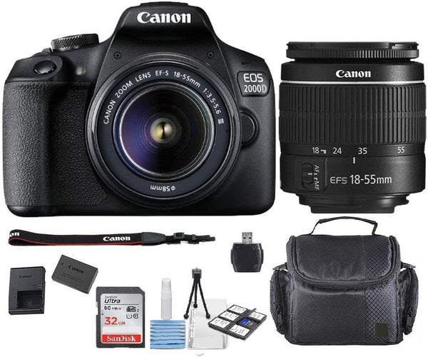 Canon EOS 2000D Rebel T7 Kit with EF-S 18-55mm f/3.5-5.6 III Lens +32gb Card+ Accessory Bundle