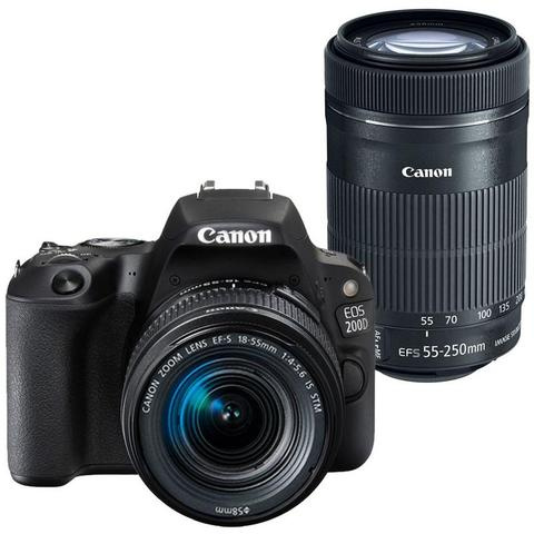Canon EOS 200D / SL2 24.2MP Wi-Fi D-SLR Camera with Canon 18-55mm and 55-250mm IS STM Lens