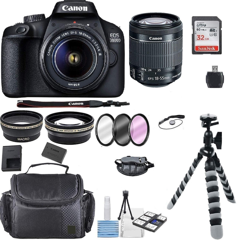 Canon EOS 3000D/Rebel T100/ EOS 4000D Kit with EF-S 18-55mm f/3.5-5.6 III Lens + Accessory Bundle