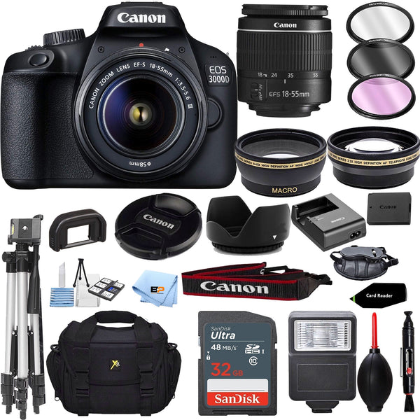 Canon EOS 3000D / Rebel T100 / 4000D Digital DSLR Camera Body with EF-S 18-55mm f/3.5-5.6 III Lens Accessory Bundle