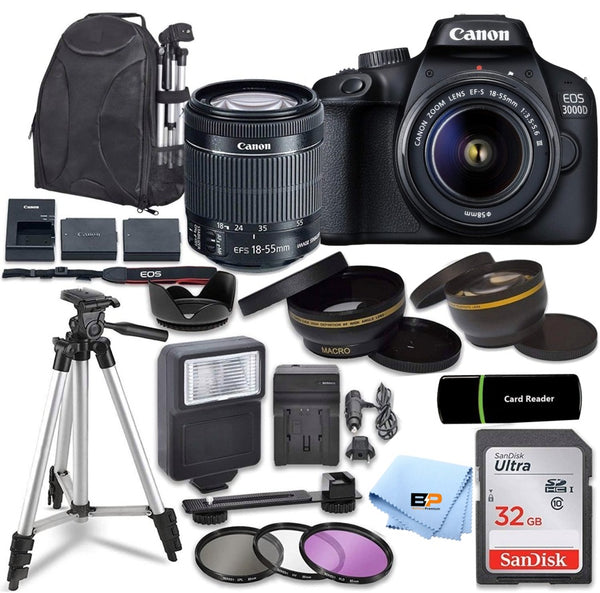 Canon EOS 3000D / Rebel T100 / 4000D Digital DSLR Camera Body with 18MP CMOS Sensor with EF-S 18-55mm f/3.5-5.6 III Lens +Briefcase + Accessory Bundle