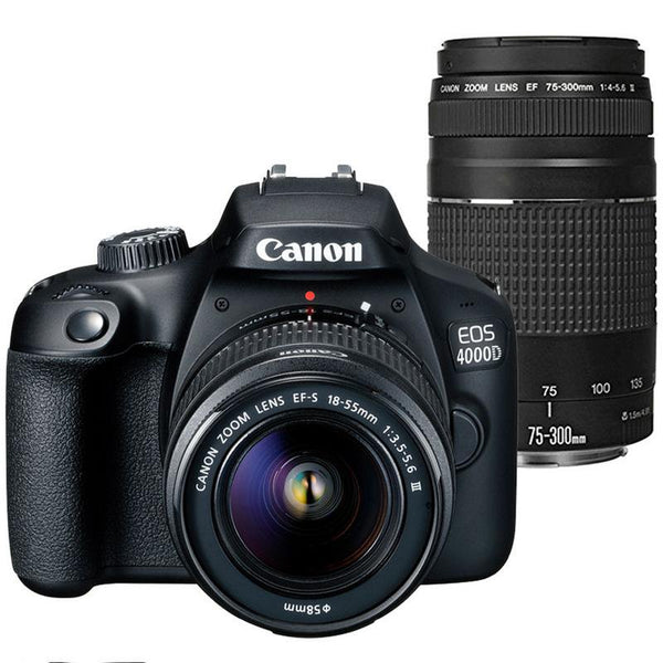 Canon EOS 4000D 18MP DSLR Camera + EF-S 18-55mm and EF 75-300 Lenses