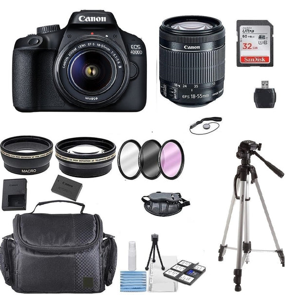 Canon EOS 4000D 18MP Digital SLR Camera + 18-55mm Lens + 32GB + 50Inch Tripod + Top Accessory Kit
