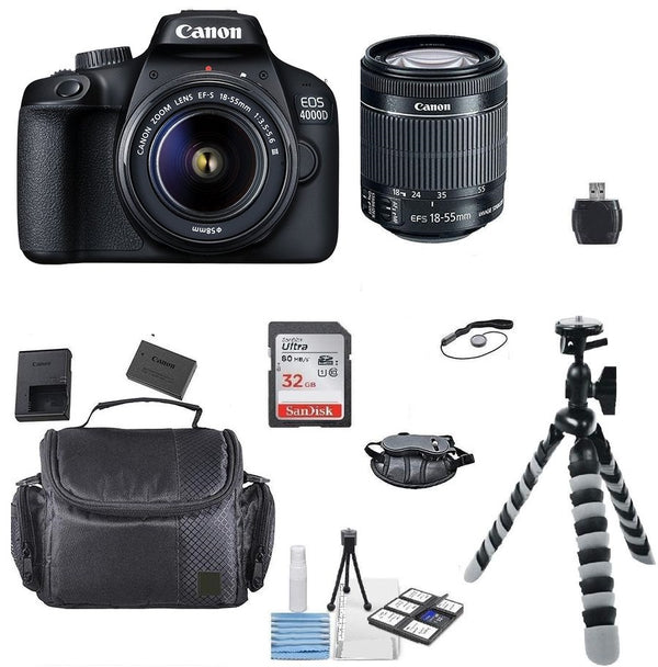 Canon EOS 4000D 18MP Digital SLR Camera + 18-55mm Lens + 32GB Top Accessory Kit