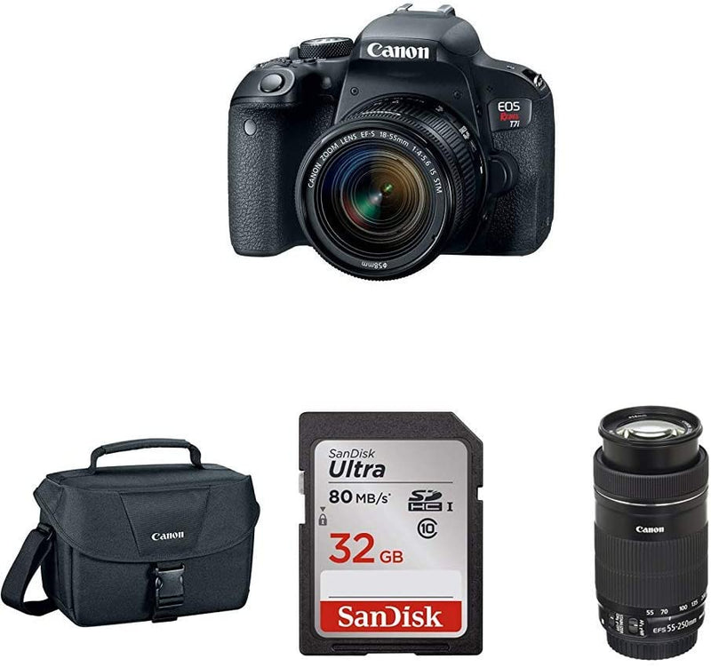 Canon EOS Rebel T7i DSLR Two Lens Kit with 18-55mm and 55-250mm Lenses & sd Card w/Camera Bag