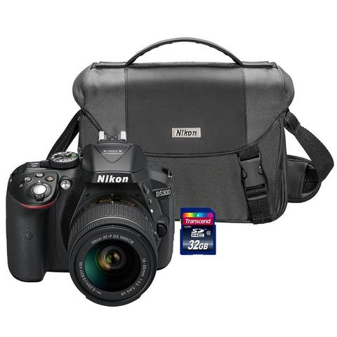 Nikon D5300 24.2MP Wi-Fi D-SLR Camera with 18-55mm Lens, 32GB Card and Camera Case