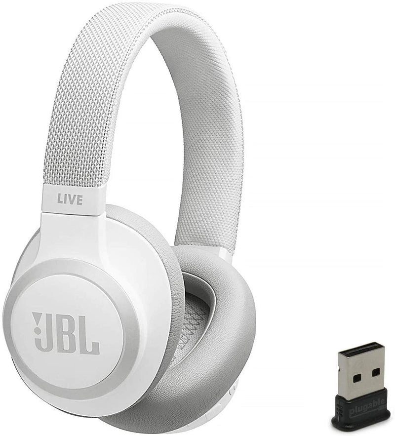 JBL Live 650 BT NC Over-Ear Noise Canceling Wireless Bluetooth Headphone-White