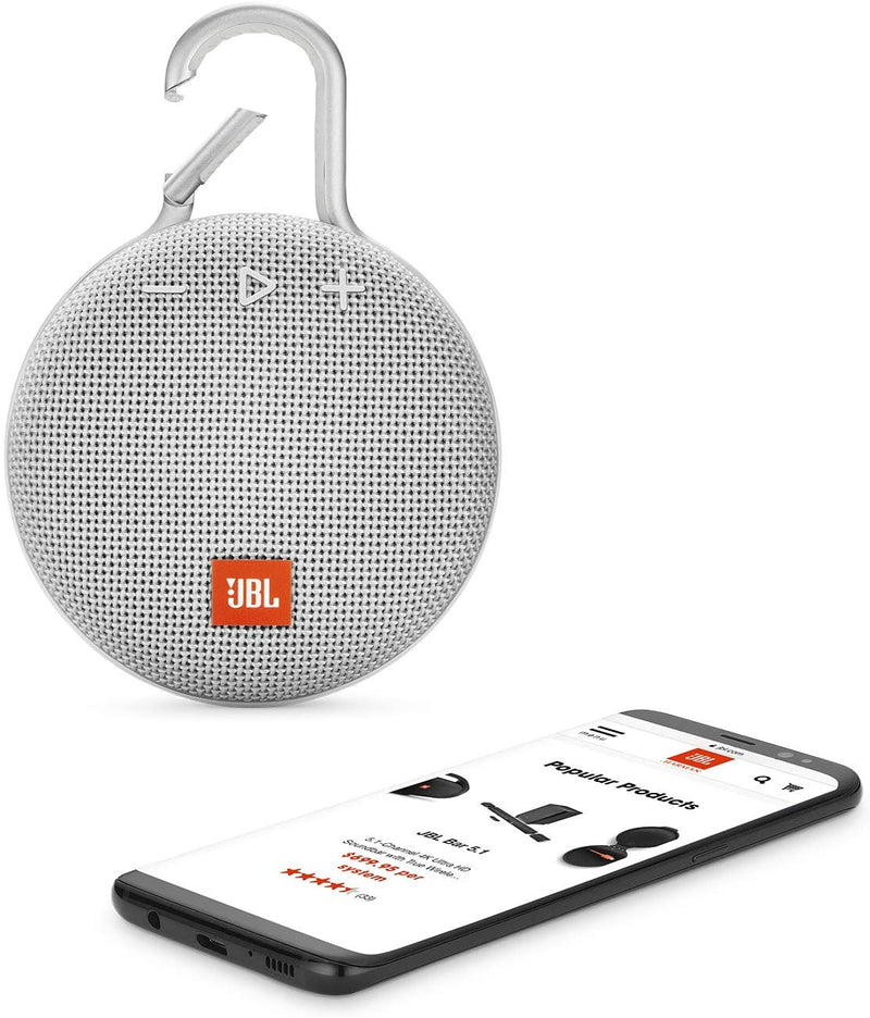 JBL CLIP 3 - Waterproof Portable Bluetooth Speaker - White