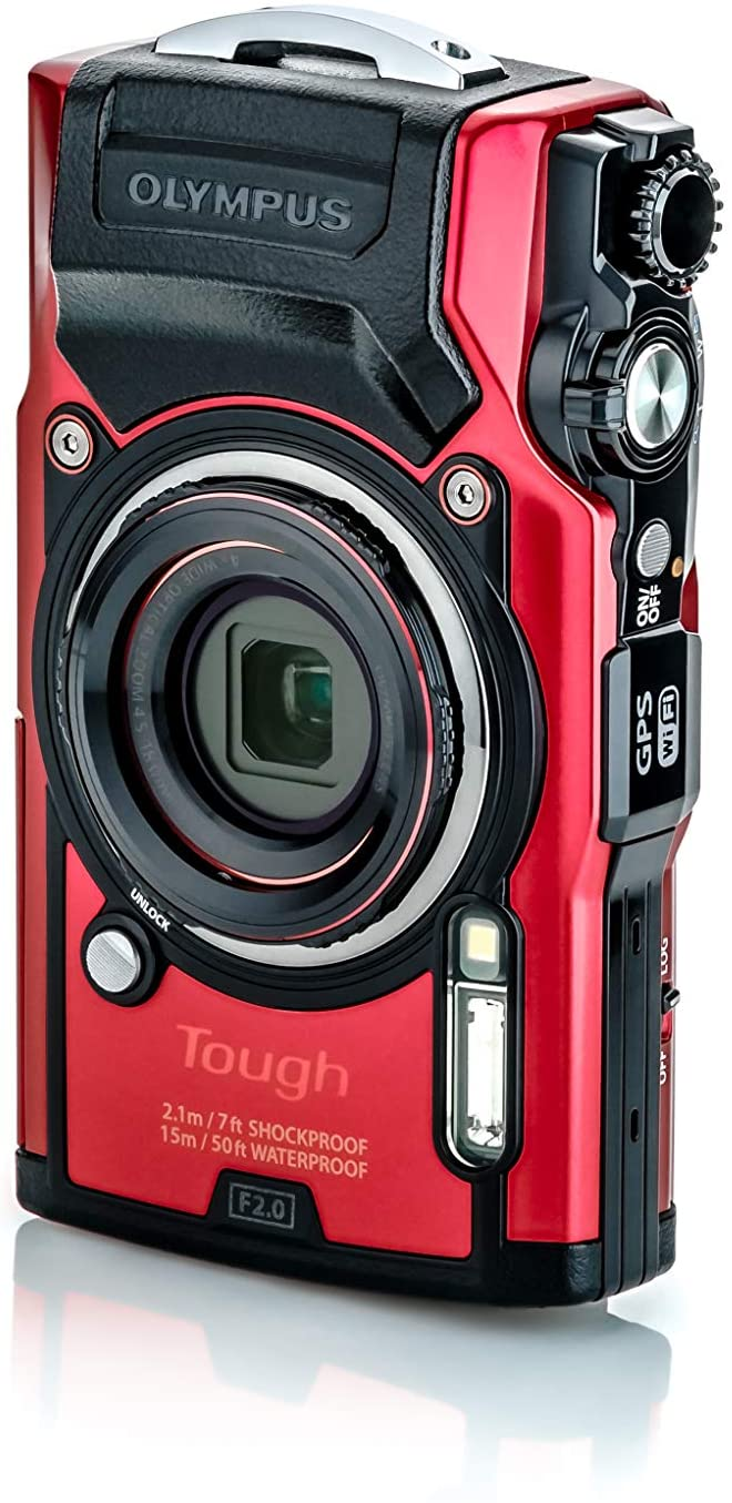 Olympus Tough TG-5 Waterproof Digital Camera with 4K Video Built-in Wifi and GPS Black and Red