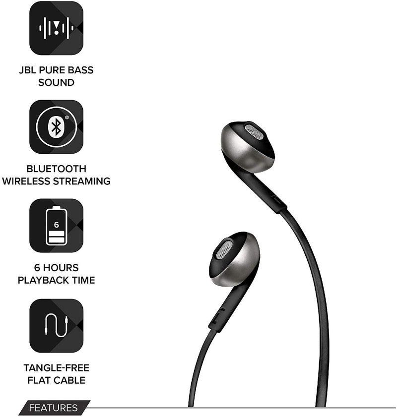 JBL TUNE 205BT Wireless In-Ear Headphones - Black