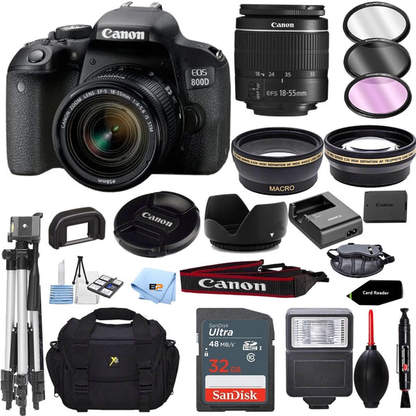Canon EOS 800D / Rebel T7i w/Canon EF-S with 18MP CMOS Sensor with EF-S 18-55mm f/3.5-5.6 III Lens + 32GB memory + Accessory Bundle