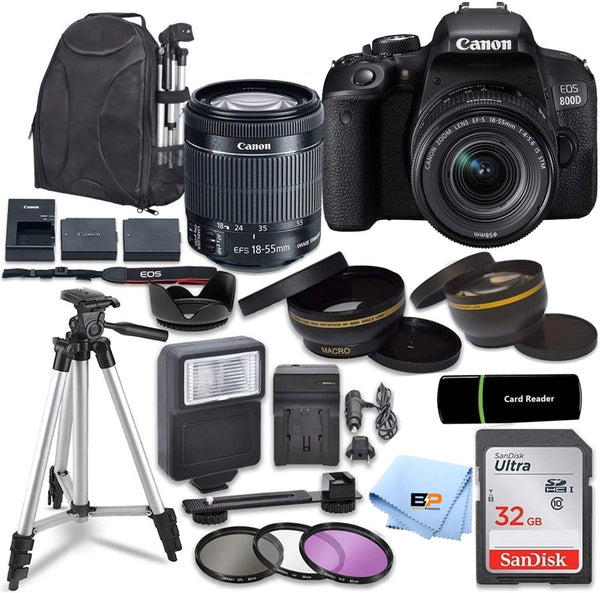 Canon EOS 800D / Rebel T7i w/Canon EF-S with 18MP CMOS Sensor with EF-S 18-55mm f/3.5-5.6 III Lens + 32GB memory + Briefcase + Accessory Bundle