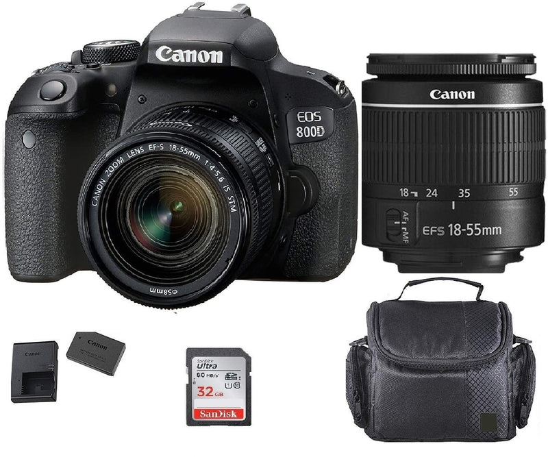 Canon EOS 800D / T7i 24.2MP Digital SLR Camera + 18-55 IS STM Lens + Case, +32gb Memory Card