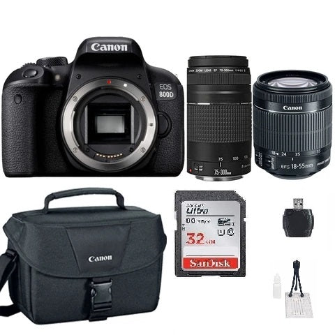 Canon EOS 800D 24.2MP Digital SLR Camera with 18-55mm, 75-300mm and Original Canon Case Premium Bundle