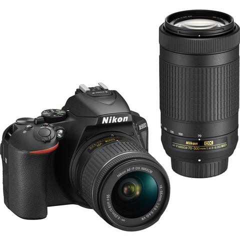 Nikon D5600 24.2MP Digital SLR Camera with AF-P DX NIKKOR 18-55mm f/3.5-5.6G VR Lens and AF-P DX NIKKOR 70-300mm f/4.5-6.3G ED Lens