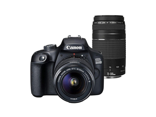 Canon EOS 2000D / Rebel T7 24.1MP Digital SLR Camera + Canon EF-S 18-55mm Lens + EF 75-300mm Lens