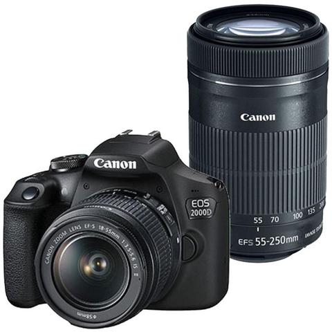 Canon EOS 2000D Digital SLR 24.1MP Camera with Canon 18-55mm and Canon 55-250 IS II Lens