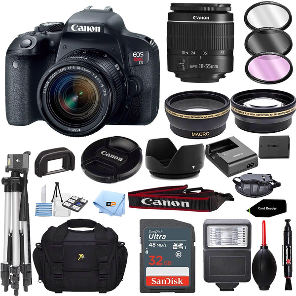 Canon EOS Rebel T7i US 24.2 Digital SLR Camera with EF-S 18-55mm f/3.5-5.6 III Lens + 32GB memory + Accessory Bundle