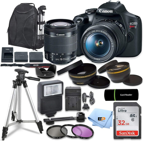 Canon EOS Rebel T7 Kit with EF-S 18-55mm f/3.5-5.6 III Lens + 32GB memory + Briefcase +Accessory Bundle